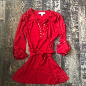 MK red tunic top